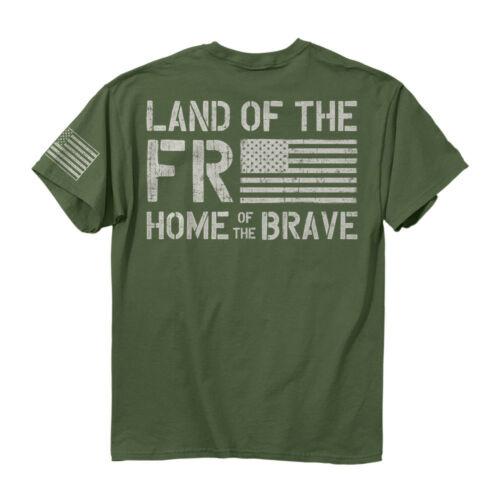 Buck Wear Freedom Flag Men/'s 100/% Cotton Short Sleeve Miltary Green T-Shirt New