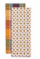 Pioneer Woman Vintage Geo Kitchen Towels Set Of 2 Plaid Geometric Red Yellow