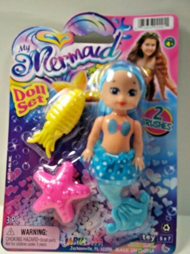 "My Mermaid Doll Set /& 2 Brushes Blue Hair /& Blue Outfit 4/"" Girls Age 4 /& Up New"