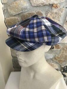 64090c0a6a160 Vintage Plaid Patchwork Cabbie Cap Hat Made in USA Unisex Elastic ...