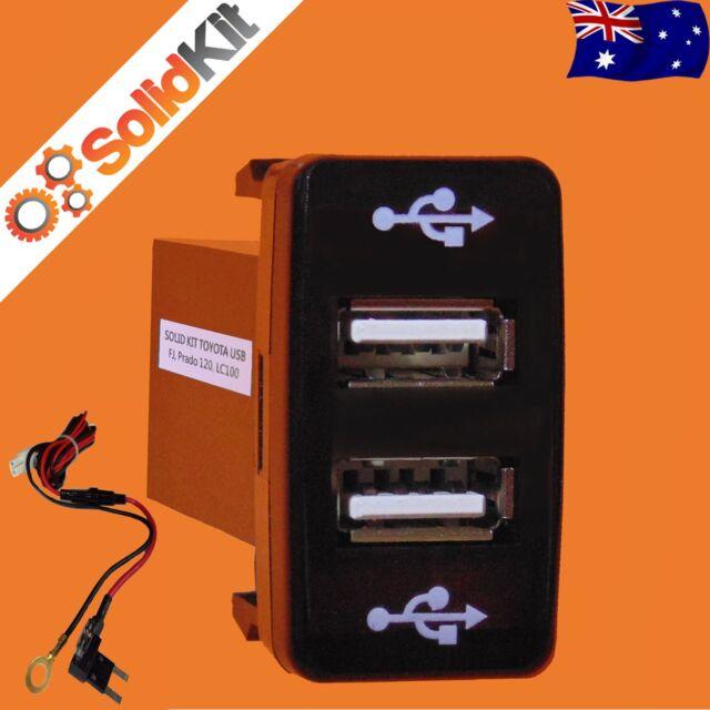 Dual USB Charger for Toyota OEM Switch Prado 120, FJ Cruiser, Hilux, LC100