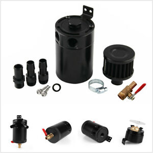 Aluminum-2-Port-baffled-oil-catch-can-breather-tank-AN10-drain-valve-w-filter