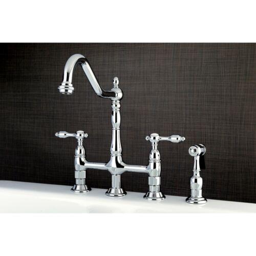 Polished... Kingston Brass KS1271TALBS Bridge Kitchen Faucet with Brass Sprayer