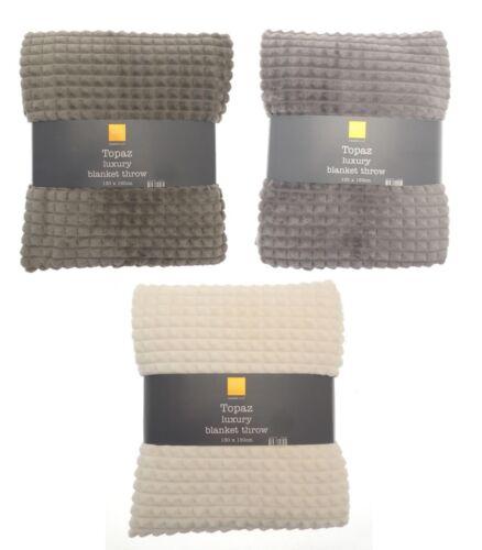 Topaz Contemporary /& Stylish Pyramid Texture Plush Fleece Throw 130x170cm