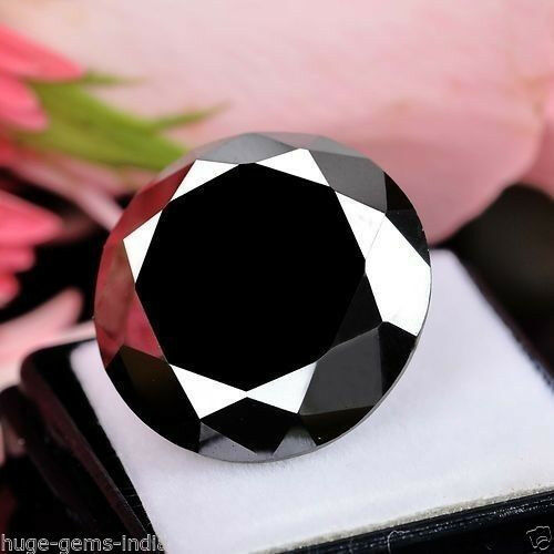 6.85 Ct Round Brilliant Cut Loose Black Diamond Moissanite Solitaire~ For Ring**
