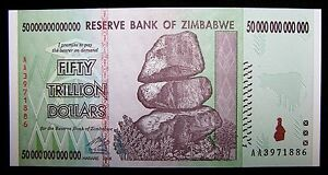 Image Is Loading Zimbabwe 50 Trillion Dollar Banknote Unc Paper Currency