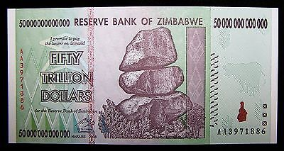 Zimbabwe 50 Trillion Dollar Banknote Unc Paper Currency Ebay