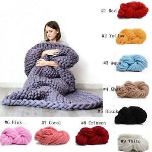 Wool-Chunky-Knitted-Thick-Blanket-Yarn-Bulky-Knit-Throw-Sofa-Blanket-16-Colors