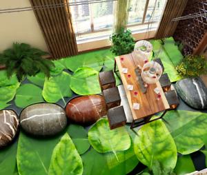 3D verde de piedra de hoja 5 Impresión De Parojo Papel Pintado Mural de piso 5D AJ Wallpaper Reino Unido Limón