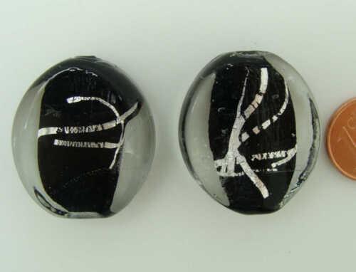 2 perles 29mm GALET ovale VERRE lampwork NOIR avec ruban argenté DIY bijoux
