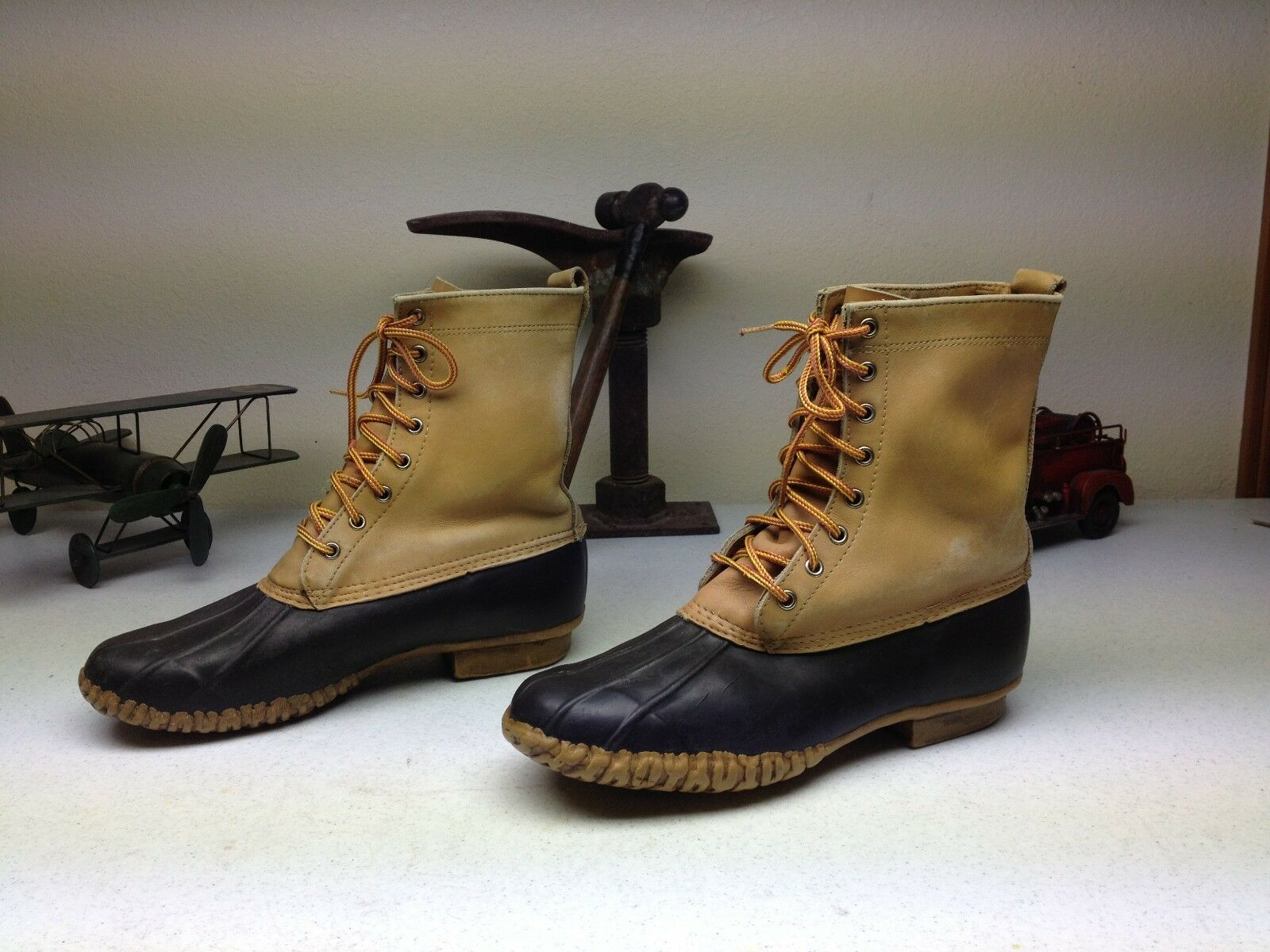 BROWN LEATHER BLACK RUBBER DISTRESSED WINTER DUCK HUNTING BOOTS SIZE 11 M
