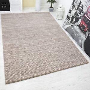 moderner teppich hoch tief effekt mit lurex glitzer gestreift in braun beige ebay. Black Bedroom Furniture Sets. Home Design Ideas