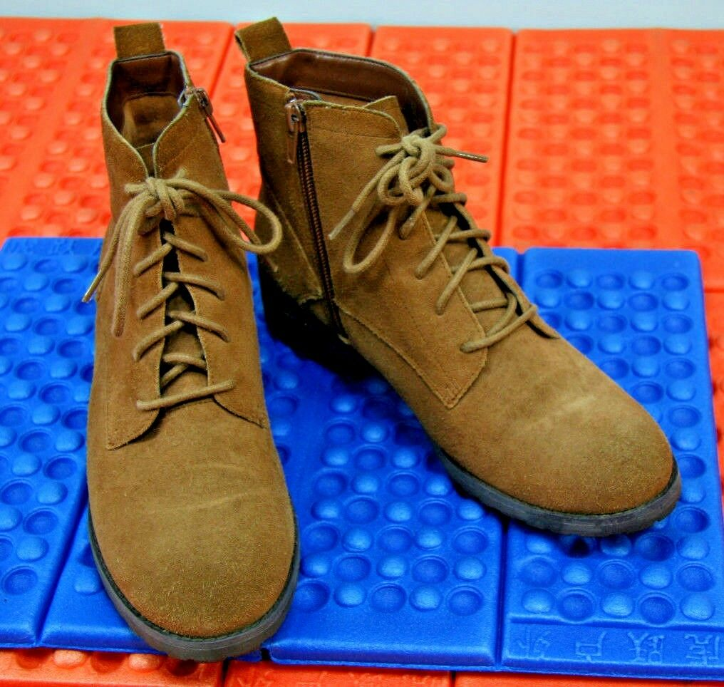 Tesori Womens Suede Leather Ankle Boots Size 7M Lace Up Side Zip Brown