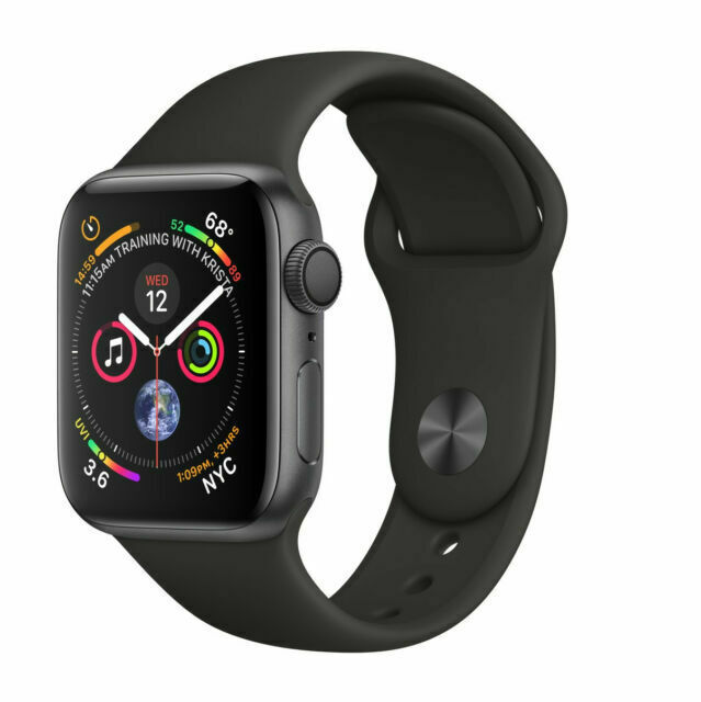 Apple Watch Series 4 44 Mm Space Gray Aluminum Case With Black Sport Band Gps Mu6d2ll A For Sale Online Ebay