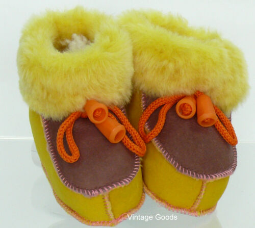 SHEEPSKIN SLIPPERS//BOOTS FOR BABY 100/% GENUINE LEATHER UNISEX SIZE 1//2