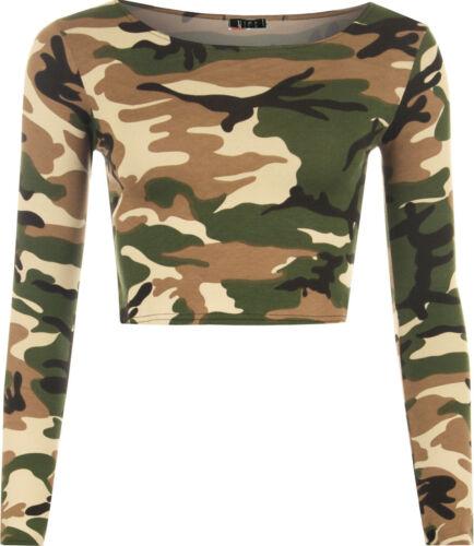 Femme crop basic manches longues t shirt femme court uni col rond top uk 8-14