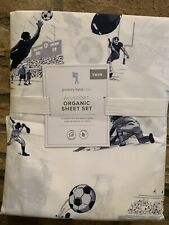 4pc Pottery Barn Kids ORGANIC VINTAGE SOCCER Cotton Sheet Set Queen New Sports