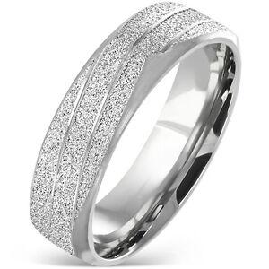 Edelstahlring-Silber-matt-sandgestrahlt-diagonales-Band-eckig-Ring-Herren-ME-77
