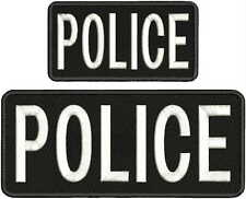 "POLICE embroidery patches  4x10 and 3x6""  hook on back  white  Letters"