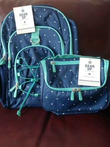 Pottery Barn Kids Teen Gear Up Backpack /& Lunch Bag Set Navy Blue Aqua No Mono