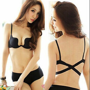 83bc7ef268ca0 Deep U Low Cut Push Up Bra Lingerie Backless Invisible Bras For ...