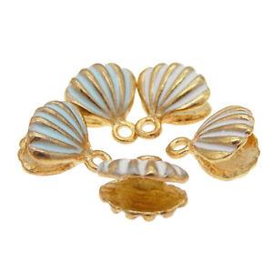 12pcs-Gioielli-Making-accessori-smalto-oro-Conchiglia-Shell-in-Lega-Ciondoli-Charms