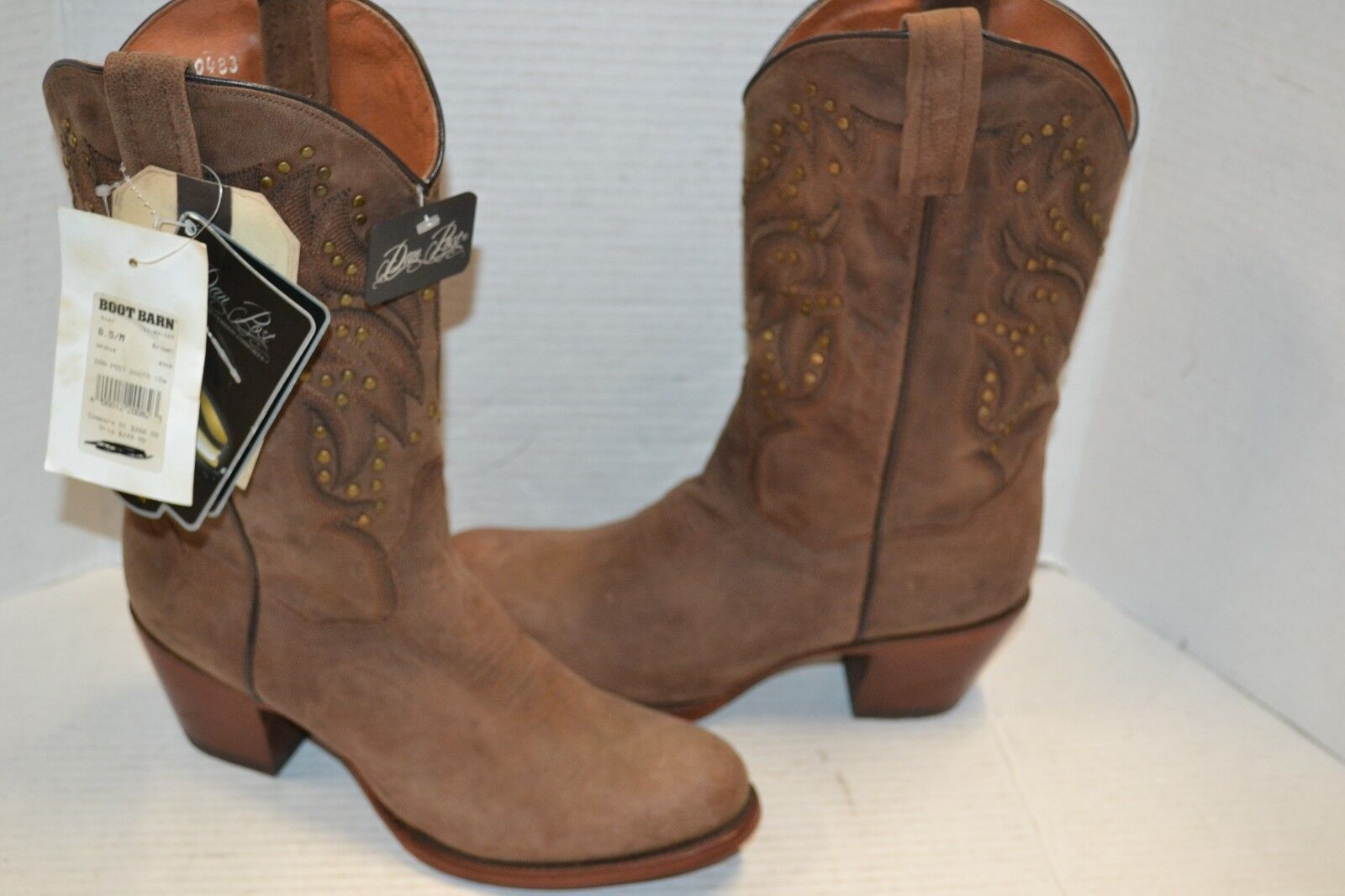 Dan Post Women SZ 8.5 M BROWN WESTERN STUDDED Leather Melba Bay Apache DP3516
