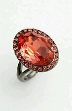 GIVENCHY Crystal Rock Coral Color Oval Gunmetal Cocktail Ring Sz 6