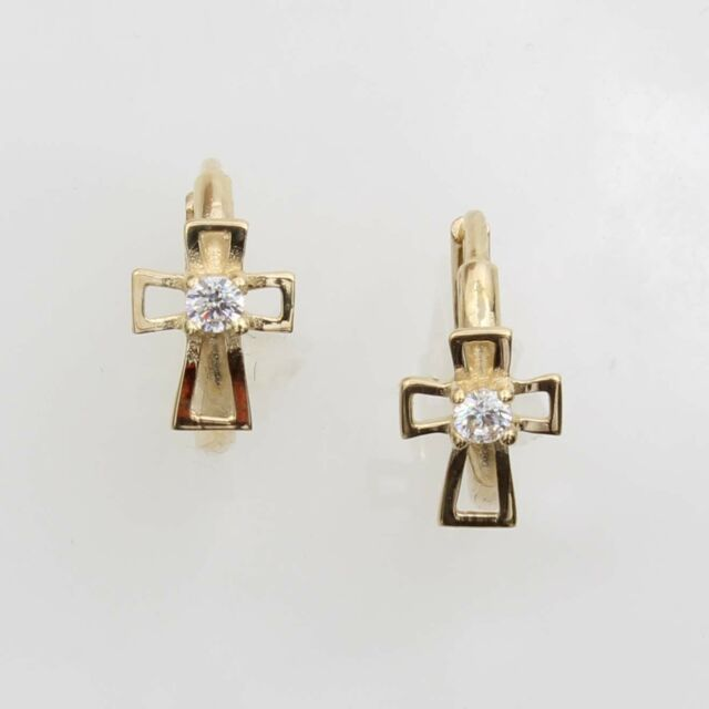 14k Real Yellow Gold Cross Cubic Zirconia Huggies Earrings For Baby And Children