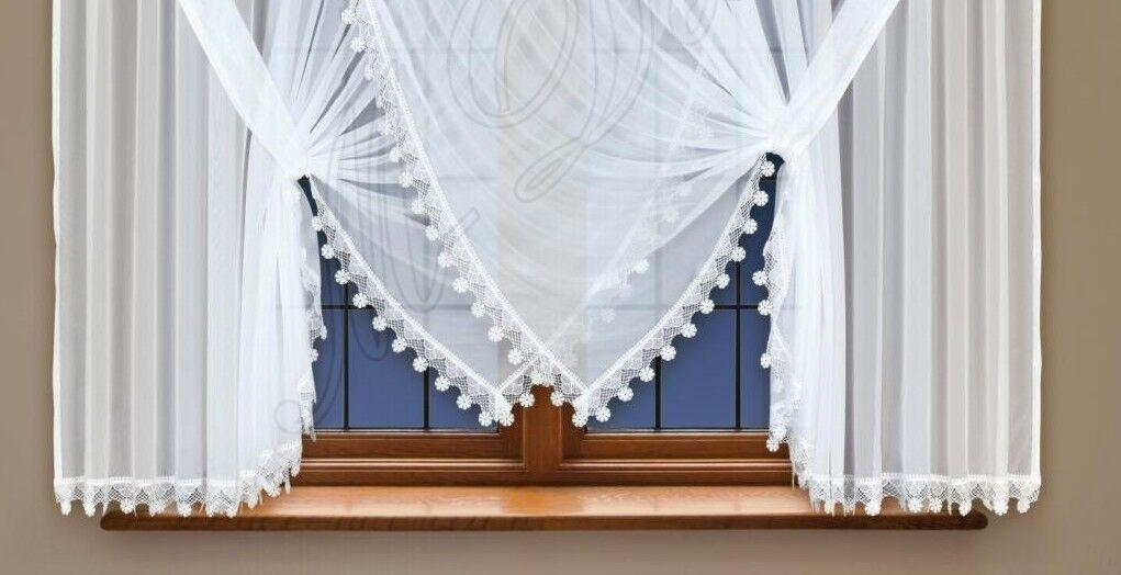 Court rideau de fenêtre en blanc voile voile voile avec couture guipure dentelle 59