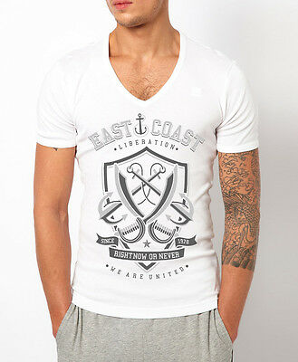 MENS DEEP V NECK T-SHIRT HUNGER /& PAIN SKULL MUSCLE TOP GEORDIE SHORE