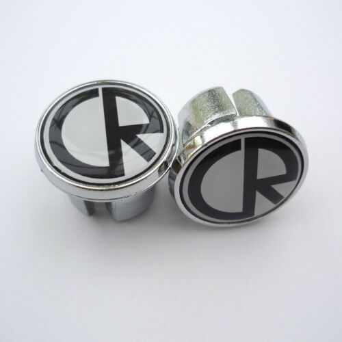 Charles Roberts Caps Chrome Racing Bar Plugs Vintage Style Repro