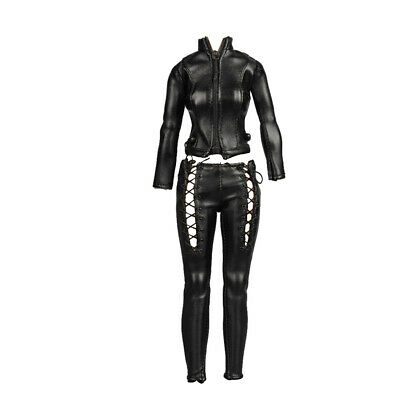 "1//6 Female Faux Leather Jacket Pants Outfit Set for 12/"" Kumik Phicen Hot Toy"