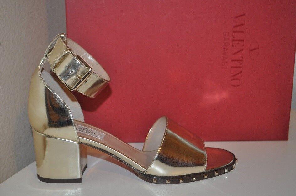 NIB  995 VALENTINO Själsstubb Block Heel Sandal Sandal Sandal Metallic silver 37.5   7.5  officiell kvalitet