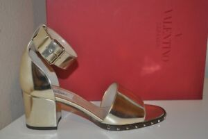 87c8b2e13bae NIB  995+ VALENTINO Soul Stud Block Heel Sandal Metallic Silver 37.5 ...