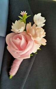 Fiance boutonniere, Wedding boutonniere, Groomsman boutonniere, Pink boutonniere