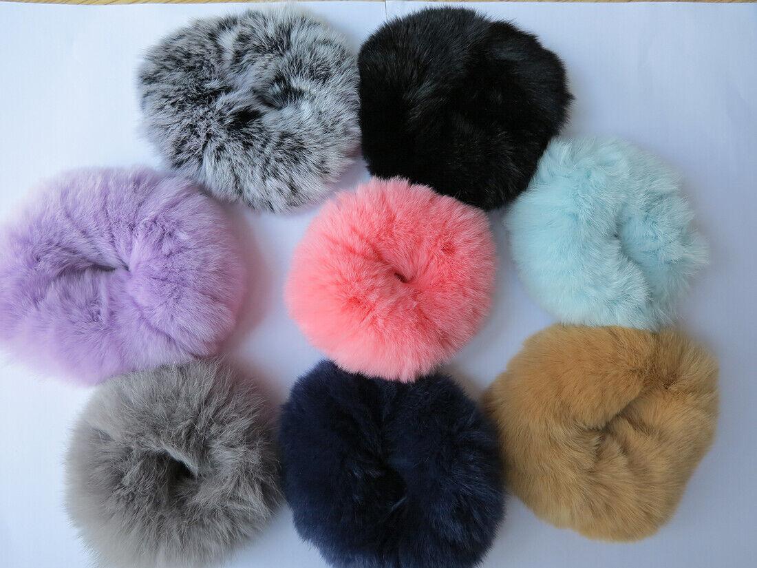 8pcs of real rabbit fur hair scrunchies ponytail holder
