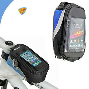 Borsa-touch-screen-bici-MOUNTAIN-BIKE-per-SONY-XPERIA-Z2-impermeabile-BLU