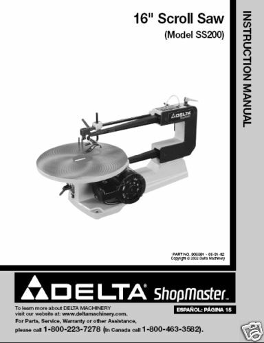 Delta 16 Scroll Saw Instruction Manual #SS200
