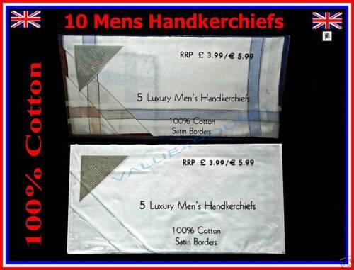 10X MENS 100/%COTTON POCKET SQUARE HANDKERCHIEF WHITE /& WHITE COLOUR SATIN BORDER
