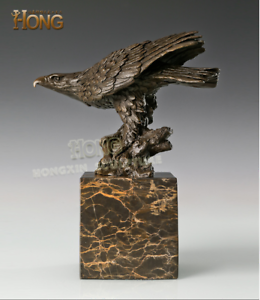 10-034-Art-Deco-Sculpture-Eagle-Hawk-Glede-Bird-Animal-Feng-Shui-Bronze-Statue
