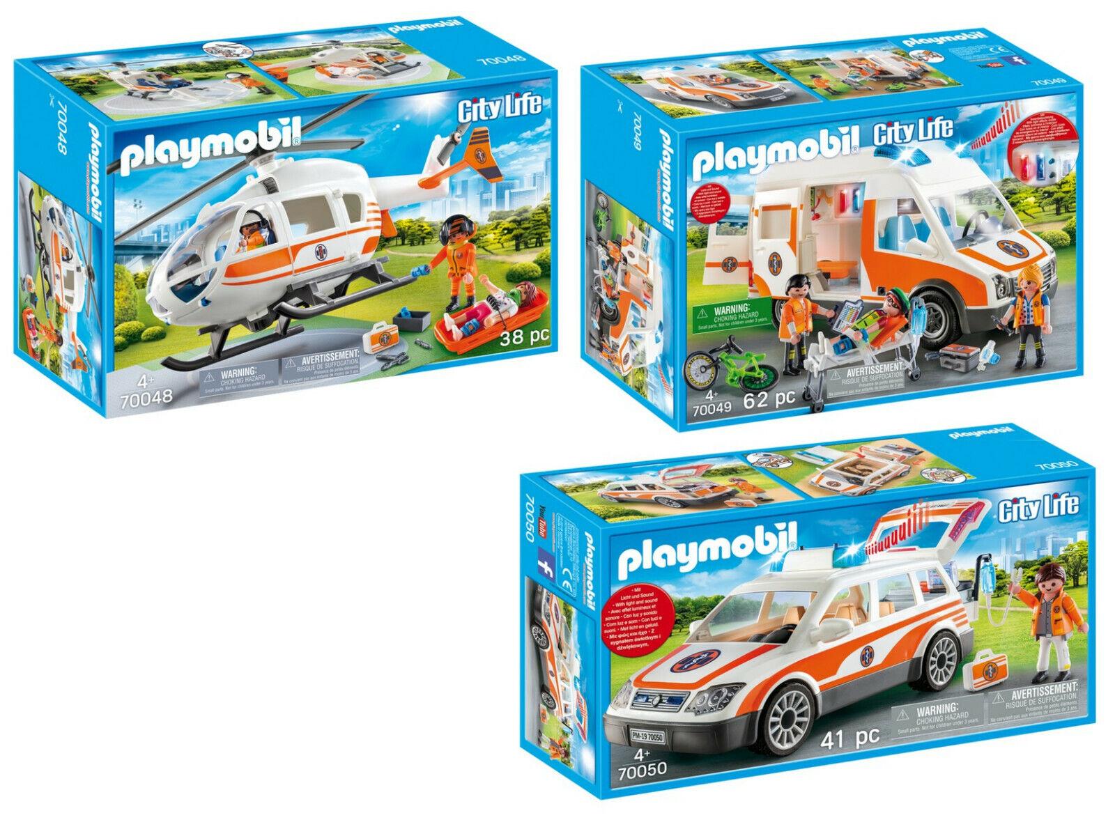 Playmobil® 70048 70049 70050 Rettungswagen Helikopter Notarzt 3er Set  neu ovp