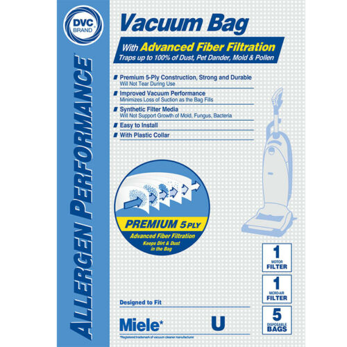 Meile Type U 07282050 HEPA Vacuum Cleaner Bags DVC Made In USA
