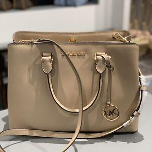 Details About Michael Kors Small Leather Beige Gold Bag Crossbody Handbag Satchel Women Purse