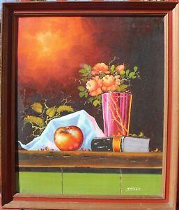 Vintage-Original-Oil-Painting-on-Canvas-Still-Life-Fruit-Framed-Signed