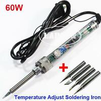 200-450°C 220V 60W 907 Temperature Adjust Solder Iron Electric Welding 4 Tips UK
