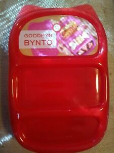 NEW-BYNTO-Lunch-Container-by-Goodbyn-Red-Alphabet-amp-Other-Stickers-Compartments