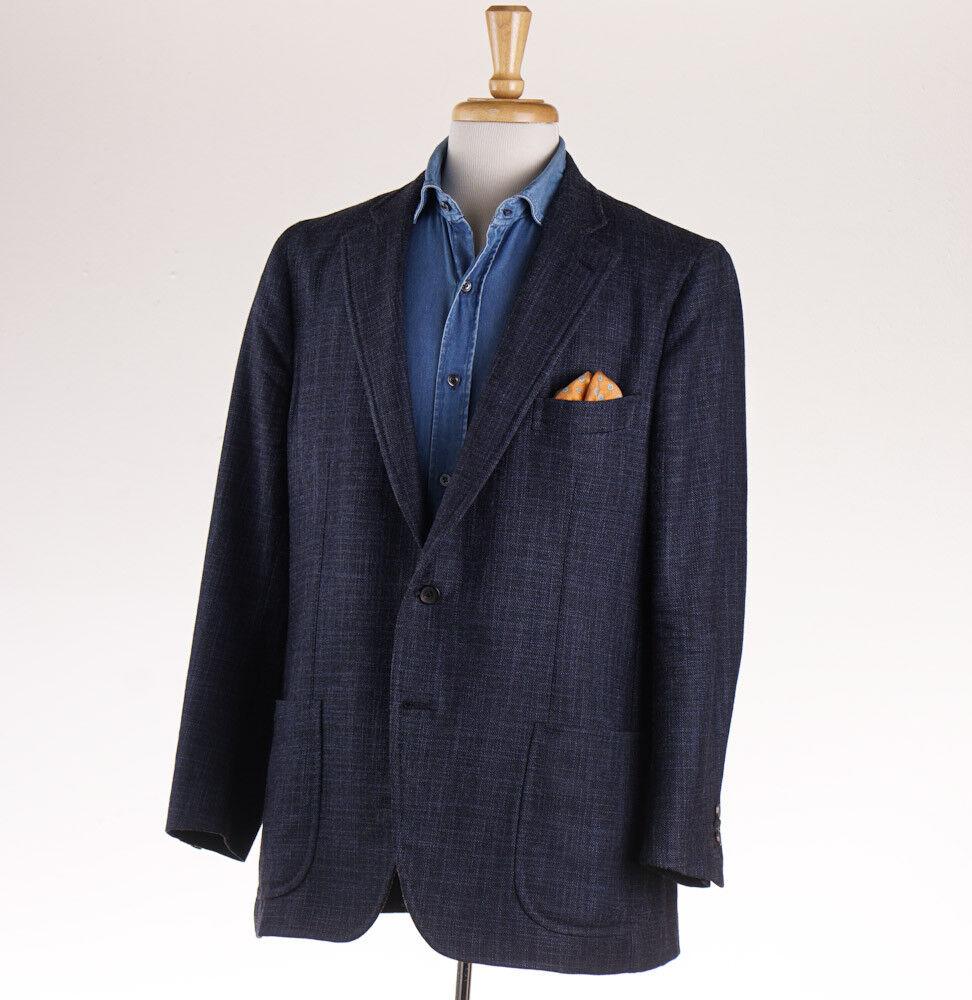 2995 ISAIA NAPOLI Dark Blau Woven Wool-Silk-Cashmere Sport Coat 46 R (Eu 56)