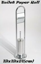 Free Standing Toilet Brush Holder & Paper Roll  With Heavy Weight Base - Chrome