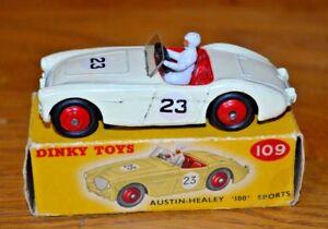 Vintage Dinky n ° 109 Austin Healey Sports;   Corps blanc;   Boîte de tache de couleur
